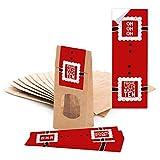 50 braune Geschenktüten mit Fenster und Pergamineinlage 7 x 4 x 20,5 cm und 50 Aufkleber Sticker 'Frohe Weihnachten - Ho Ho Ho' zum Verpacken von Gebäck Pralinen Tee und kleinen Geschenken