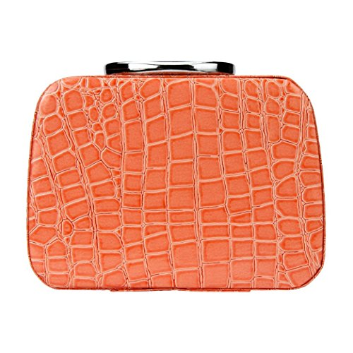 Make-up Tasche, lanowo Fashion Make-up Storage Leder Tasche Case Jewelry Leder Box Reise Kosmetik Organizer Orange
