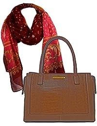 d37839be9ea246 Damen- Henkel- Tasche in braun Geräumige Handtasche in Krokodilleder-Optik,  Geschenk- Set zusammen mit Halstuch, langer Schal,…