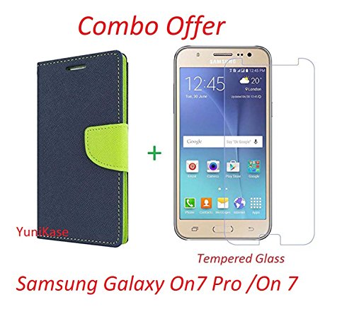 Yunikase Wallet Flip Case Cover Case - (Blue & Green) +Premium Tempered Glass Mobile Screen Protector-(Transparent) For Samsung Galaxy On 7 Pro /On 7