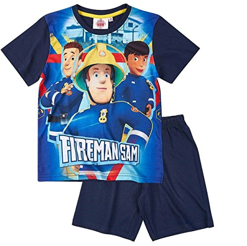 Feuerwehrmann Sam Kollektion 2017 Schlafanzug 98 104 110 116 122 128 134 140 Pyjama Fireman Sam Jungen Neu Blau (Blau-Marine, 122-128; Prime) (Marine-blau-prime T-shirt)
