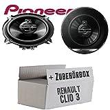 Renault Clio 3 Front Heck - Lautsprecher Boxen Pioneer TS-G1330F - 13cm 3-Wege 130mm Triaxe 250W Auto Einbausatz - Einbauset