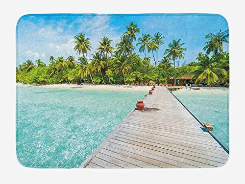 Deck Bath Set (tgyew Tropical Bath Mat, Maldives Island with Beach Wooden Deck Palms Exotic Holiday Picture, Plush Bathroom Decor Mat with Non Slip Backing, 23.6 W X 15.7 W Inches, Aqua Turquoise Fern Green)
