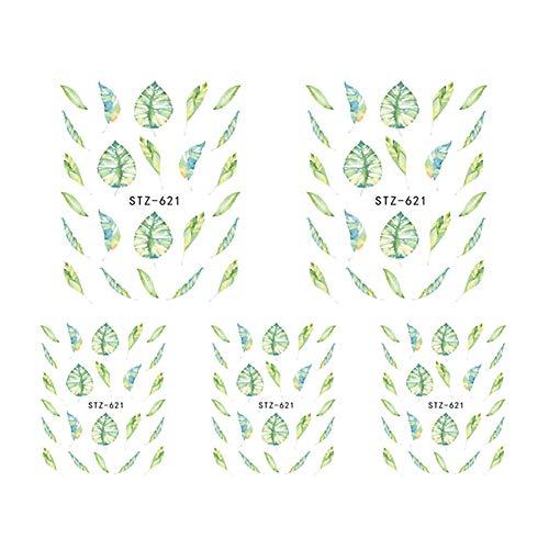 BIGBOBA Nagel Aufkleber, Blumen Schmetterling Nagel Decals, DIY Nail Art Deco, Damen Nagel Ornamente, 5 Stück pro Set, 6,4 * 5,2 cm -