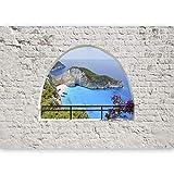 murando - Fototapete 500x280 cm - Vlies Tapete -Moderne Wanddeko - Design Tapete - Ziegel Beton Natur Landschaft Mauer Meer See c-C-0023-a-b