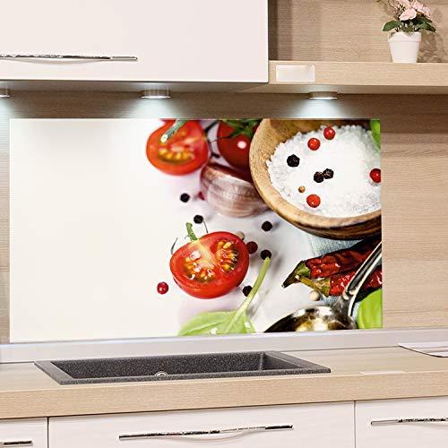 GRAZDesign Küchen Rückwand Weiß Glas-Bild Spritzschutz Herd Druck hinter Glas Bild-Motiv Gewürze und Tomaten / 100x60cm