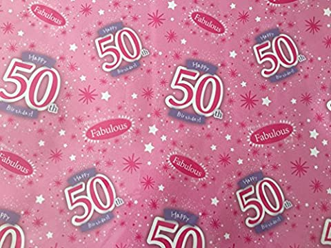 Ladies Happy 50 th Birthday Fabulous 50 Gift Wrap Paper x 2 Sheets and 1 Matching Tag