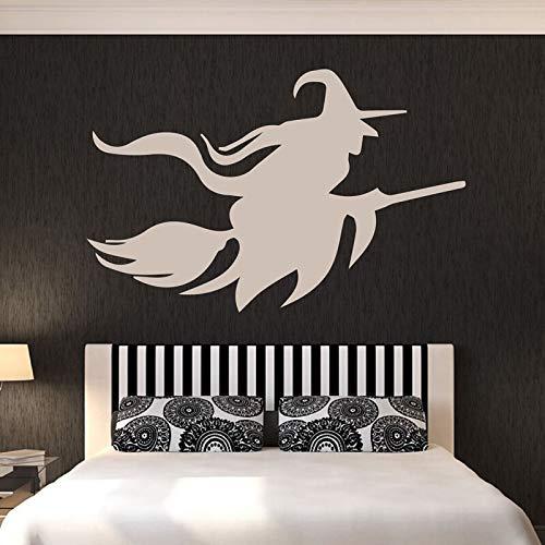 yiyitop Hexe in Hut Fliegen auf Besen Halloween Wandkunst Aufkleber für Wohnzimmer Wohnkultur Vinyl Wandtattoos Windows Murals 64 * 42 cm