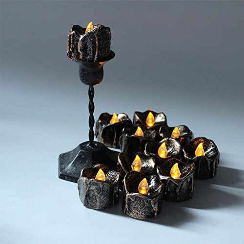 VLENIEN 24pc LED té Vela sin llama Eléctrica té Vela Casa Dormitorio Decoraciones de Fiesta de Boda(Luz amarilla)