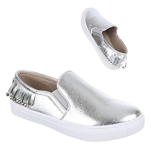Damen Schuhe, 2313-Y, HALBSCHUHE SLIPPER Silber