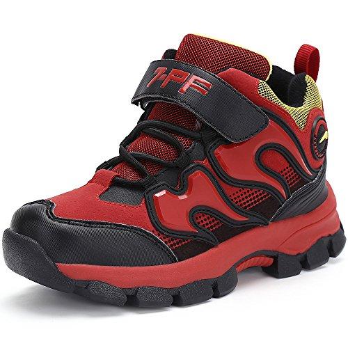 Jungen Mädchen Trekking Wanderschuhe Kinder Rutschfest Schnee Stiefel Warm Gefüttert Winter Schuhe Outdoor Wasserdicht Bergstiefel,Rot 38