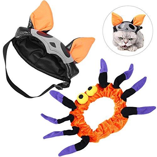 Petacc Entzückendes Haustier Kostüm/Tier Festival Bekleidung/Schickes Tier Kostüm/Kostüm Hut mit Form Fledermaus und Halskette Spider-Man für kleine Hunde, Katzen (Fledermaus Kostüm Hund)