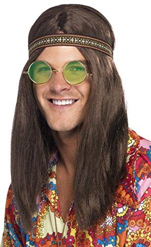 Smiffys, Herren Hippie Set, Stirnband, Sonnenbrille und Halskette, One Size, 28358 (Hippie Kostüm Muster)