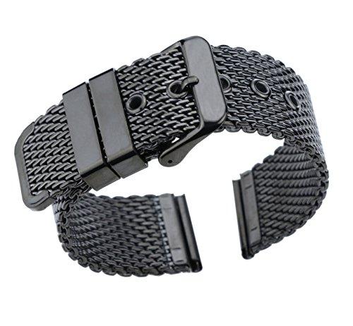 20mm Luxus schwarz milanese Schlaufe Armbänder poliert Mesh Stahl Uhrenarmband massiven 316l Edelstahl
