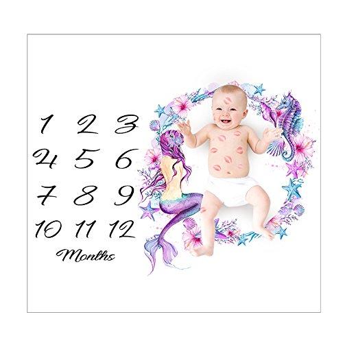 JoyFan Baby Monatliche Milestone Decke, Infant Baby Foto Props Shoots für die Fotografie Meerjungfrau-Türkis