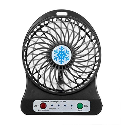 VENMO-verano Ventilador Portátil,VENMO Ventilador de luz LED portátil recargable Ventilador de batería Mini Desk USB 18650 de Air Cooler (negro)