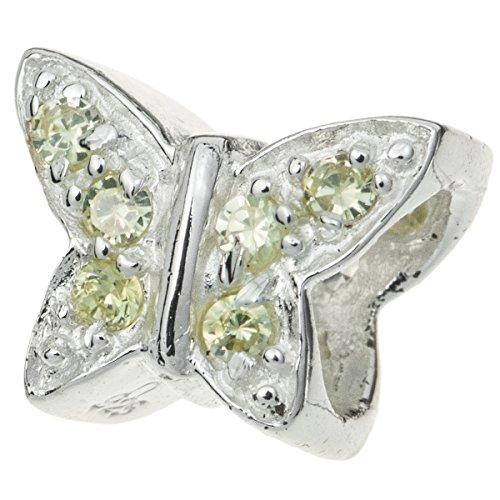 Schmetterlings-Perle aus 925 Sterlingsilber, mit grünem Zirkonia-Kristall, für europäische Charm-Armbänder (Pandora Perlen Oma)