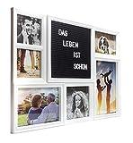 Metradex Bilderrahmen Collage mit Letterboard: Sechs Bilder mit Glasscheibe (51 x 37 cm) Weiß