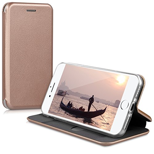 kwmobile Hülle für Apple iPhone 7 / 8 - Flipcover Case Handy Schutzhülle Kunstleder - Bookstyle Flip Cover Rosegold Rosegold