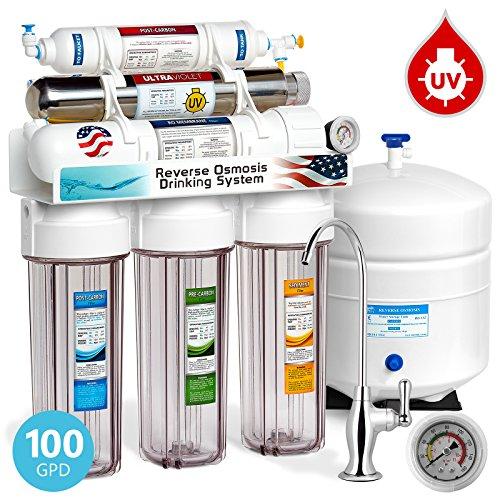 EXPRESS Wasser rouv10dcg UV-Ultraviolett-Sterilisator Umkehrosmose Home Trinkwasser Filtration System, 100GPD, Deluxe Chrom Wasserhahn, Manometer, transparent Gehäuse (Umkehrosmose 100)