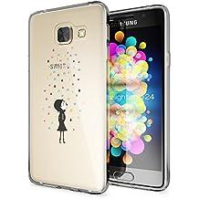 Samsung Galaxy A3 2016 Funda Carcasa de NICA, Protectora Movil TPU Silicona Ultra-Fina Gel Transparente, Cubierta Goma Bumper Cover Case Clear para Samsung A3 2016, Designs:Colorful Rain