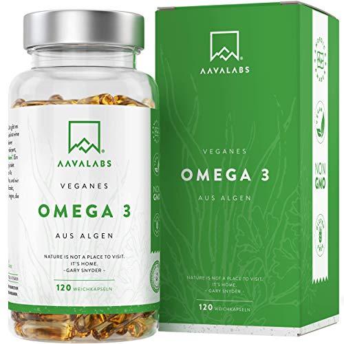 Omega 3 Vegan [1100 mg ] - Omega-3-Fettsäuren aus Algenöl - 300 EPA and 600 DHA pro Tagesdosis - 100{4ba5aa26a6f17079702178bf37c3e53801e6d52317b50270b6ecc37650235540} pflanzlich - Unterstützt normale Gehirnleistung & Sehkraft - 120 Kapseln
