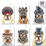 Ruby Ashley Lot de 30 cartes d'anniversaire avec enveloppes Motif chiens