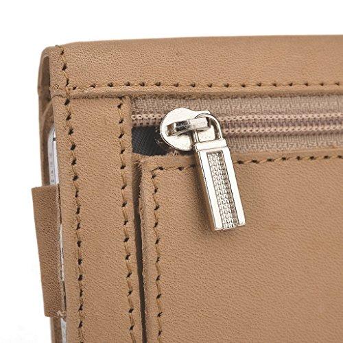 Kroo Pochette en cuir véritable pour téléphone portable/clair pour Samsung Galaxy Trend Lite/Trend Plus Marron - peau Marron - marron