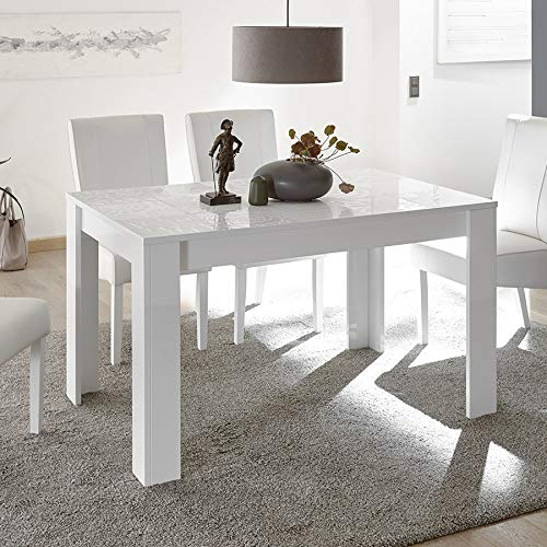 M-012 Mesa de Comedor Color Blanco Lacado Design 140 cm Elma ...