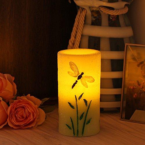 LED Vela Sin Llama Vela Lampara, En Casa, En Boda, Decoración para fiestas, Sin Llama, Plástico, Vela Columna Con Temporizador, Color verde, 7,6x15,24 cm (3x6 Pulgadas)
