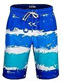 APTRO Badehose Herren Freizeit Short Urlaub Short Schnelltrocknend Badeshorts Blau HW007 XL