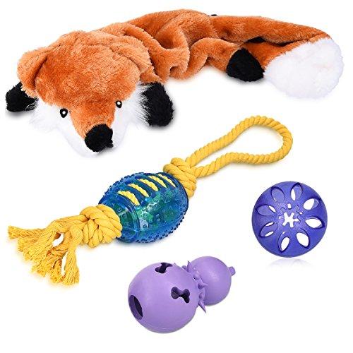 Navaris 4in1 Hundespielzeug Spielset - Hunde Spielzeug Set mit Fuchs Quietsch Plüschtier Snack Ball Rugby Seilspielzeug Snackspiel - auch für Welpen