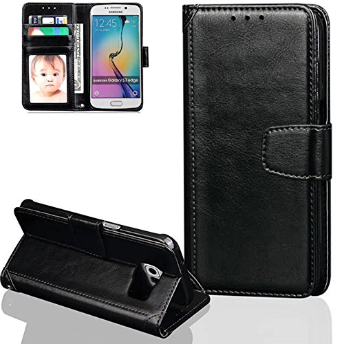 Nnopbeclik Leder Apple Iphone 6 / 6S Hülle Flip Etui Echt, PU Leather Weich Case Handytasche Stitching Muster Bookstyle Schutz Etui Schale mit Bild Slot, Wallet Brieftasche Handyhülle mit Standfunktio Schwarz