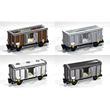 Collection of six 4-Wheel Box and Open Wagons: Lego MOC building instructions (Lego Train MOC Plans Book 5) (English Edition)