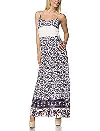 jowiha Damen Kleid Baumwoll Maxikleid Sommer Kleid mit Spitze