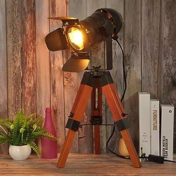 Industrail Table Lamps, Vintage Small Table Lamps for Living Room, Bedroom, Spotlight Tripod Standing Floor Light, Searchlight Desk Light for Studio,Office-Edison Bulb not Include