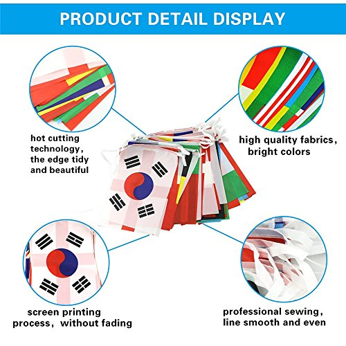NYKKOLA 12M World Cup Bunting Banner - 2018 FIFA World Cup Top 32 Nation Football String Flags Soccer Fabric Bunting for Indoor and Outdoor use