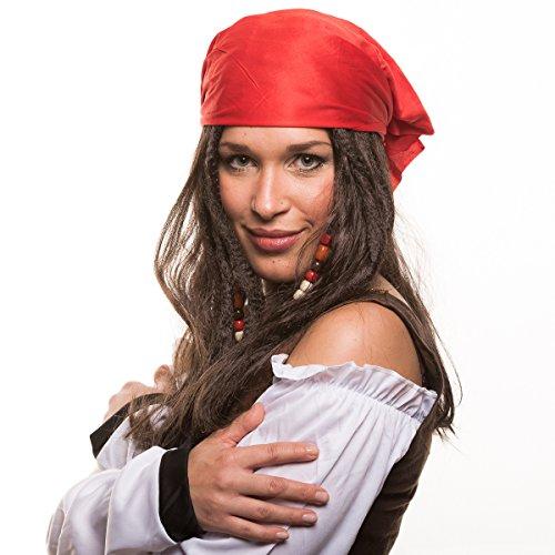 Piraten Piratin Seeräuber Perücke (Piratenperücke) mit Perlen und roten Bandana für das perfekte Piratenkostüm zum Fasching und - Pirat Jack Kostüm