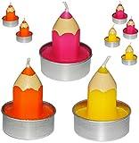24 tlg. Set _ Teelichter / Kleine Kerzen -  Bunter Stift - Pink / Rosa  - 5 ..