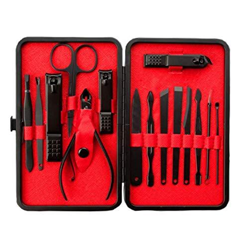 Set Edelstahl-Nagelschneider Set Maniküre 15 In 1 Kit Von Kosmetik Maniküre Und Pediküre Schwarz Und Rot -