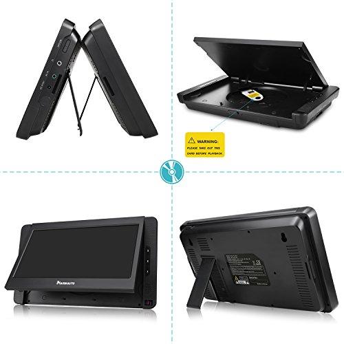 NAVISKAUTO 10,1 Zoll DVD Player Auto 2 Monitore Tragbarer DVD Player mit zusätzlichem Bildschirm 5 Stunden Akku Kopfstütze Monitor Fernseher Dual Bildschirm1014 - 5