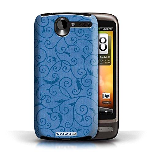 Kobalt® Imprimé Etui / Coque pour HTC Desire G7 / Orange conception / Série Motif de la vigne Bleu