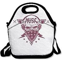 Preisvergleich für futonghuaxia eine Skelett Musik zu hören leicht outdoor Lunch Bag Lunch Box Isoliert Tote Kühler Lunch Tasche Picknick Tasche Lunch Tote, für Schule Arbeit Büro, Geschenk für Frauen, Schwarz , Einheitsgröße