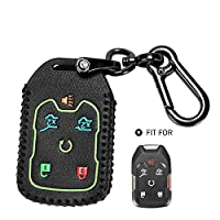 Marchfa Leather Key Case Cover Protector for 2015-2019 Chevrolet Suburban Tahoe GMC Yukon XL Denali, 6 Buttons Keyless Entry Remote Case Key Holder (Black, Glow in Dark)