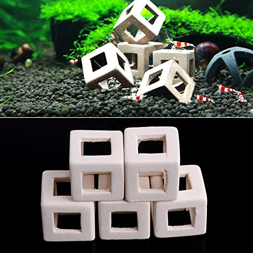 Preisvergleich Produktbild ECMQS 1/5 Stücke Aquarium Höhlen Aquarium Dekoration , Aquarium Garnelen Tonwarenlehm Stein Aquarium Ornament Cube Rahmen (5)