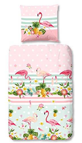 Aminata Kids Kinder-Bettwäsche-Set 135-x-200 cm Flamingo-s tropisch rosa mint floral Mädchen Damen Frauen Jugend-liche-r 100-% Baumwolle Bett-Bezüge Bett-Bezug Normal-Größe Einzel-bett-Decke Reißverschluss Oeko-Tex Kopf-Kissen 80-x-80 2-teilig Sterne Streifen Zoo-Tier-e Ananas Reisen