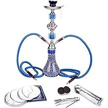 DXP Shisha Hookah 55 cm 2 Manguera Cachimba Narguile fumar con carbón y papel azul JYH04 YX (Shisha + carbón y papel)