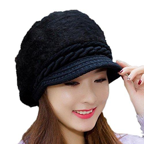 Hosaire 1x Mütze Warme Strickmütze Mode Plüsch Doppelschicht Warm Gestrickter Mütze Hut Damen Mädchen Winter Wollmütze Hüte Hut Strickmütze Schwarz
