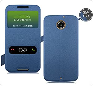 For New Motorola Google Moto X 2nd Gen 2014 Window With Stand Flip Case Cover - BLUE