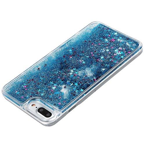 """xhorizon MLK Couverture housse avec arrière dure avec dessin de sables mouvants liquides dynamiques bling et étoiles scintillantes pour iPhone 7 Plus / iPhone 8 Plus [5.5""""] avec un stylet Bleu +9H Glass Tempered Film"""